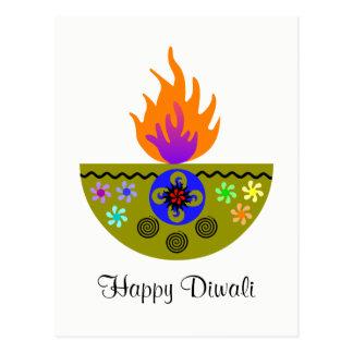 Colorful Diwali Lamp Diya Postcard
