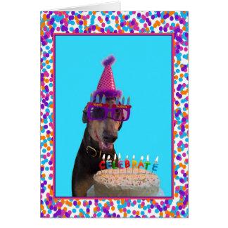 Colorful Doberman Birthday Celebration Cake Card