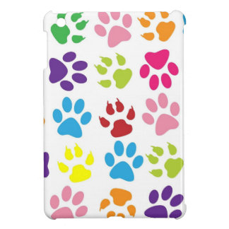 Colorful Dog Pawprints on White, iPad Mini Case