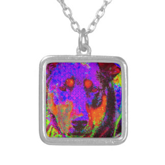 Colorful Dog Silver Plated Necklace
