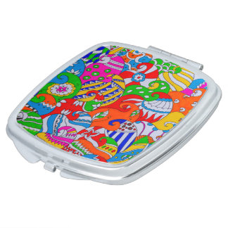 Colorful Doodle Mirror For Makeup