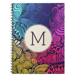 Colorful Doodle Swirls Monogram Notebook