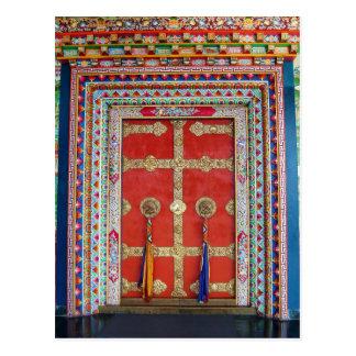 Colorful Door at Tibetan Monastery Postcard