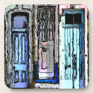 Colorful Doors Collage Coaster