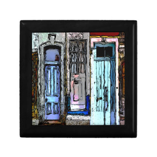 Colorful Doors Collage Small Square Gift Box