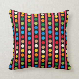 Colorful Dots and Stripes MOJO Pillow