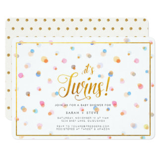 Colorful Dots Twins Baby Shower Invitation