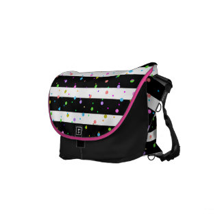 Colorful Dots With Black & White Stripes Pattern Messenger Bag