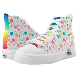 Colorful Dotted And Striped Zipz High Top Shoes Printed Shoes