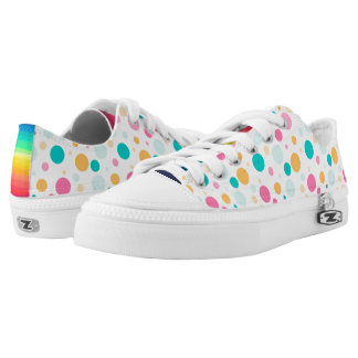 Colorful Dotted And Striped Zipz Low Top Shoes Printed Shoes