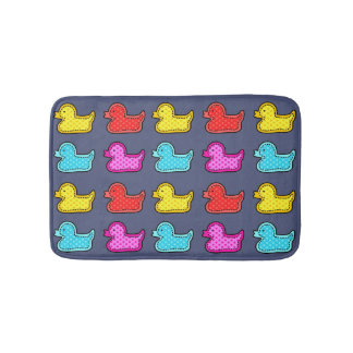 Colorful Dotty Duck Pattern on Blue Bath Mat