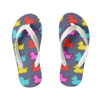 Colorful Dotty Duck Pattern on Blue Kid's Thongs