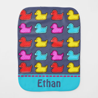 Colorful Dotty Duck Pattern Personalised Burp Cloth
