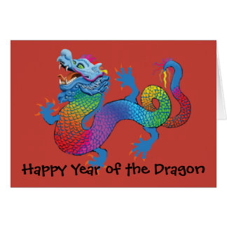 Colorful Dragon on red Chinese New Year Greeting C Card