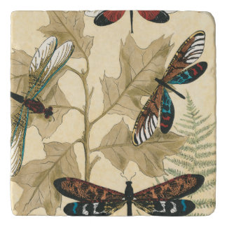 Colorful Dragonflies Floating Above Leaves Trivet
