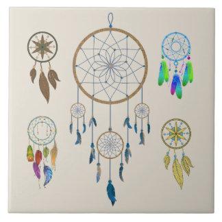 Colorful Dream Catchers Tile