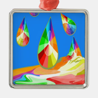colorful drops  of freedom and joy Silver-Colored square decoration