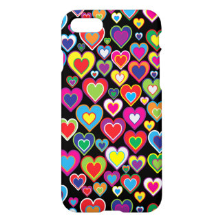 Colorful Dynamic Rainbow Hearts in Hearts Pattern iPhone 8/7 Case