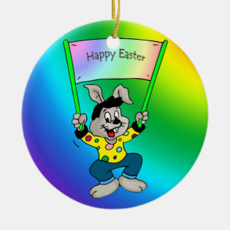 Colorful Easter bunny Round Ceramic Ornament