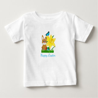 Colorful Easter Daffodils and Rabbit Kids T-Shirt