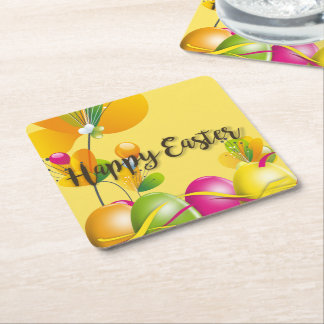 Colorful Easter Eggs and Flowers Square Paper Coaster
