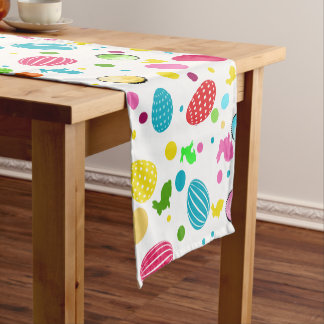 Colorful Easter Eggs , Bunnies, Cupcakes Monogram Short Table Runner