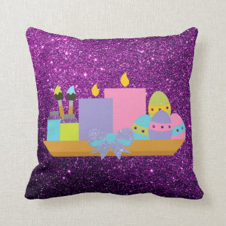 Colorful Easter Eggs & Candles Purple Faux Glitter Throw Pillow
