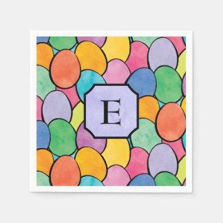 Colorful Easter Eggs Monogram Paper Napkin