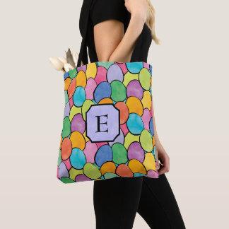 Colorful Easter Eggs Monogram Tote Bag