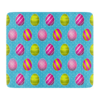 Colorful Easter Eggs On Polka Dot Background Cutting Board