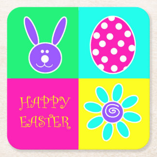 Colorful Easter Square Paper Coaster