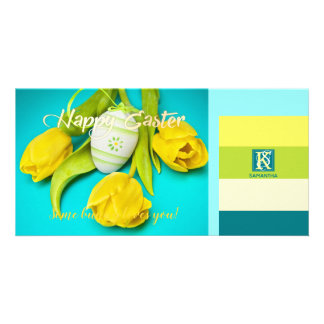 Colorful Easter Stripes Photo Monogram Card