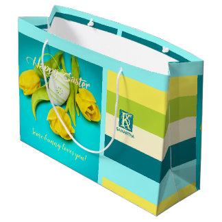 Colorful Easter Stripes Photo Monogram Large Gift Bag