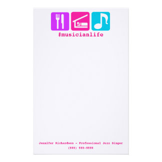 Colorful Eat Sleep Music Icons Stationery