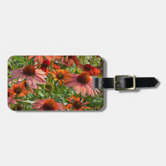 Colorful echinacea floral print luggage tag