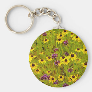 Colorful echinacea flower garden print basic round button key ring
