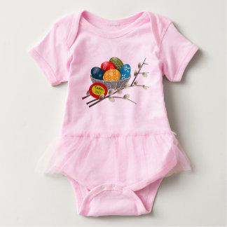 Colorful Egg Basket for First easter Baby Bodysuit