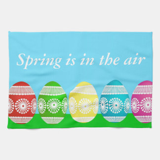 Colorful Egg Border Tea Towel