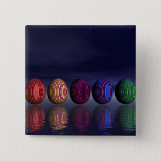 Colorful eggs for easter - 3D render 15 Cm Square Badge