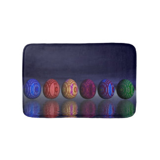 Colorful eggs for easter - 3D render Bath Mats