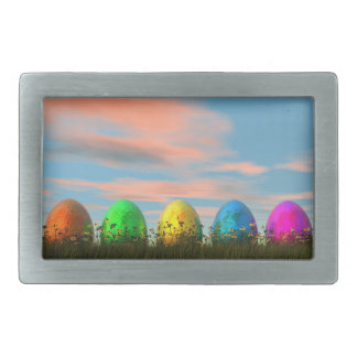 Colorful eggs for easter - 3D render Belt Buckle