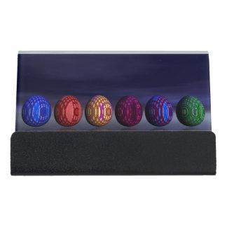 Colorful eggs for easter - 3D render Desk Business Card Holder