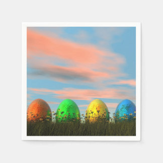 Colorful eggs for easter - 3D render Disposable Napkin