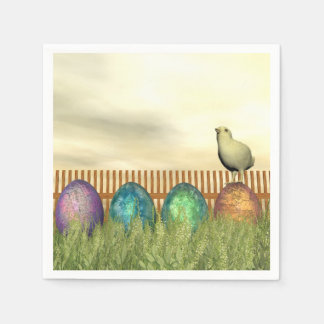 Colorful eggs for easter - 3D render Disposable Serviettes