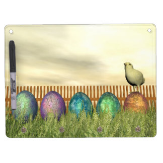 Colorful eggs for easter - 3D render Dry Erase Board With Key Ring Holder