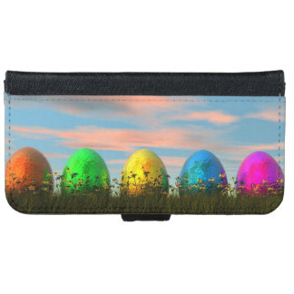 Colorful eggs for easter - 3D render iPhone 6 Wallet Case