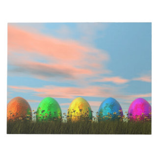 Colorful eggs for easter - 3D render Notepad