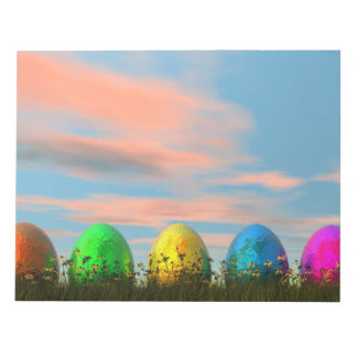 Colorful eggs for easter - 3D render Notepads