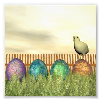Colorful eggs for easter - 3D render Photo Art