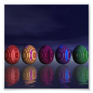 Colorful eggs for easter - 3D render Photo Print